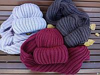 """НАБОР: ультрапопулярные шапочки крупной вязки + хомут в разных цветах. Шапка """"Бомжатка"""""""