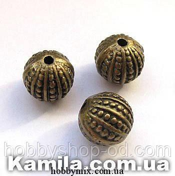 "Металл. бусина ""круглая"" бронза ( 1 х 1 см) 5 шт в уп."