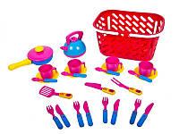 Набор игрушечной посуды с чайником в корзинке Kinderway 04-438