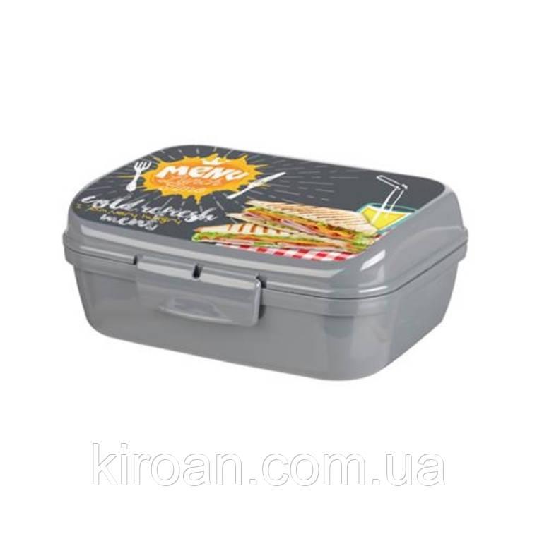 Контейнер для еды, Ланч бокс 1 л (серый) Турция 160x130x60 мм