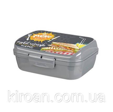 Контейнер для еды, Ланч бокс 1 л (серый) Турция 160x130x60 мм, фото 2