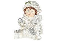 Декоративная фигурка Мальчик с подарками, 13см, цвет - белый с серебром BonaDi 887-344
