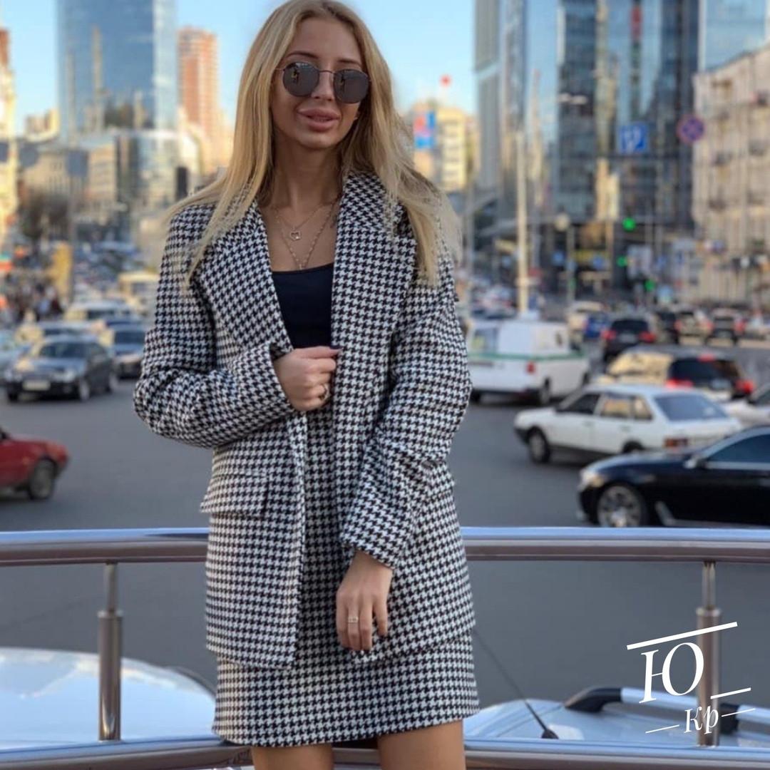 Костюм двойка женский, в клетку, удлиненный пиджак + юбка, повседневный, офисный, модный, стильный, до 48 р, фото 1