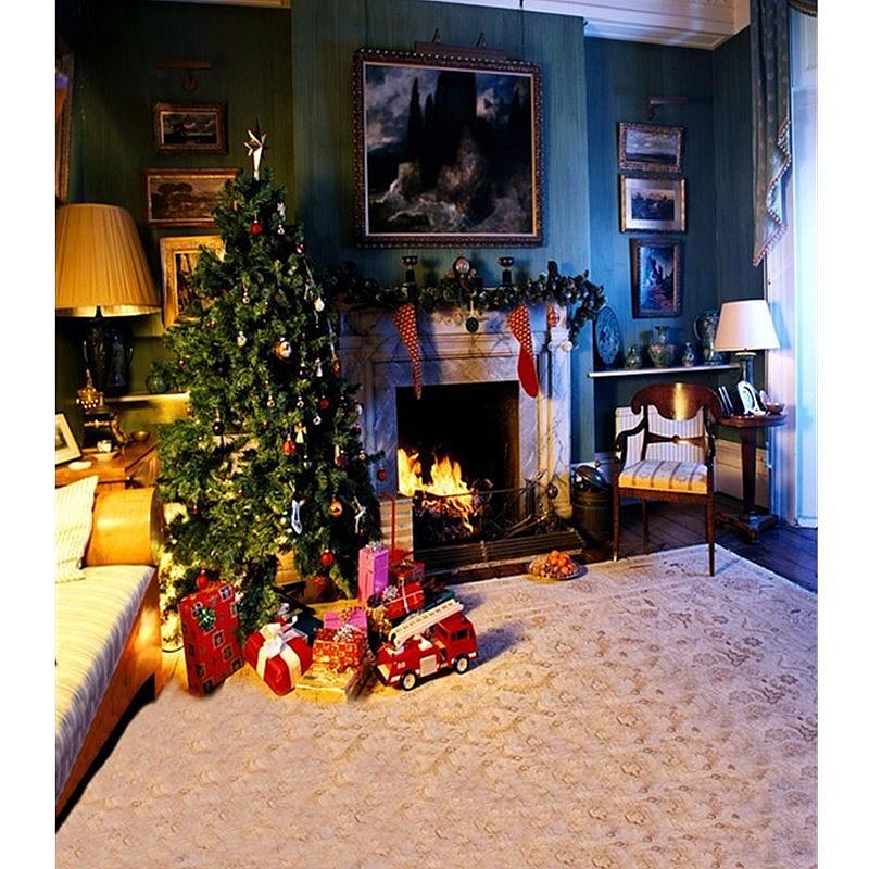 5x7FT Виниловая рождественская елка Камин Спальня Фотография Фон Фон Студия Prop - 1TopShop
