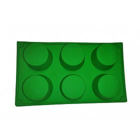Силиконовая форма для выпечки круглая 6 штук Genes зеленая