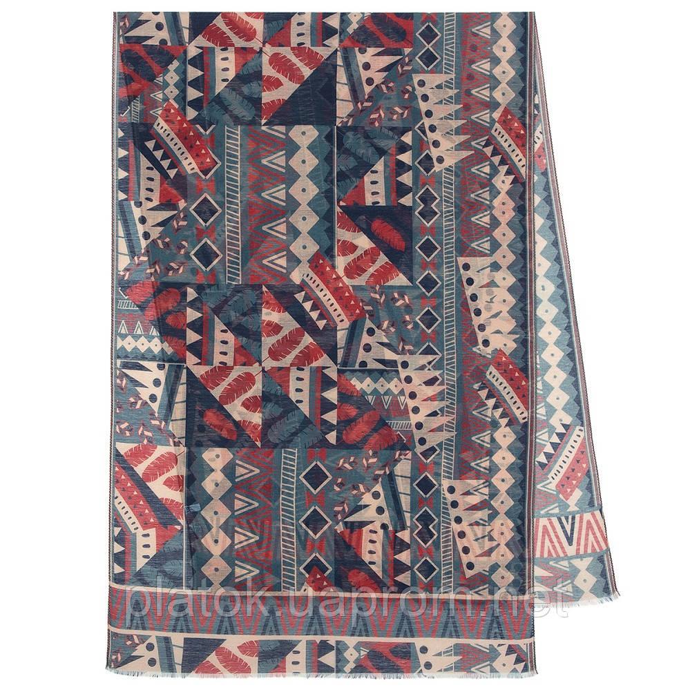 Палантин шерстяной 10839-12, павлопосадский шарф-палантин шерстяной (разреженная шерсть) с осыпкой