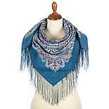 Соловушка 1893-12, павлопосадский платок шерстяной  с шелковой бахромой, фото 2