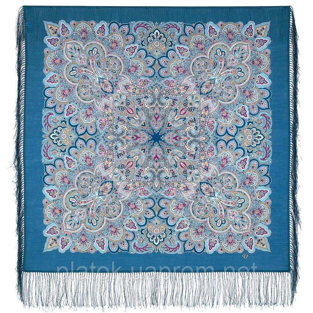 Соловушка 1893-12, павлопосадский платок шерстяной  с шелковой бахромой