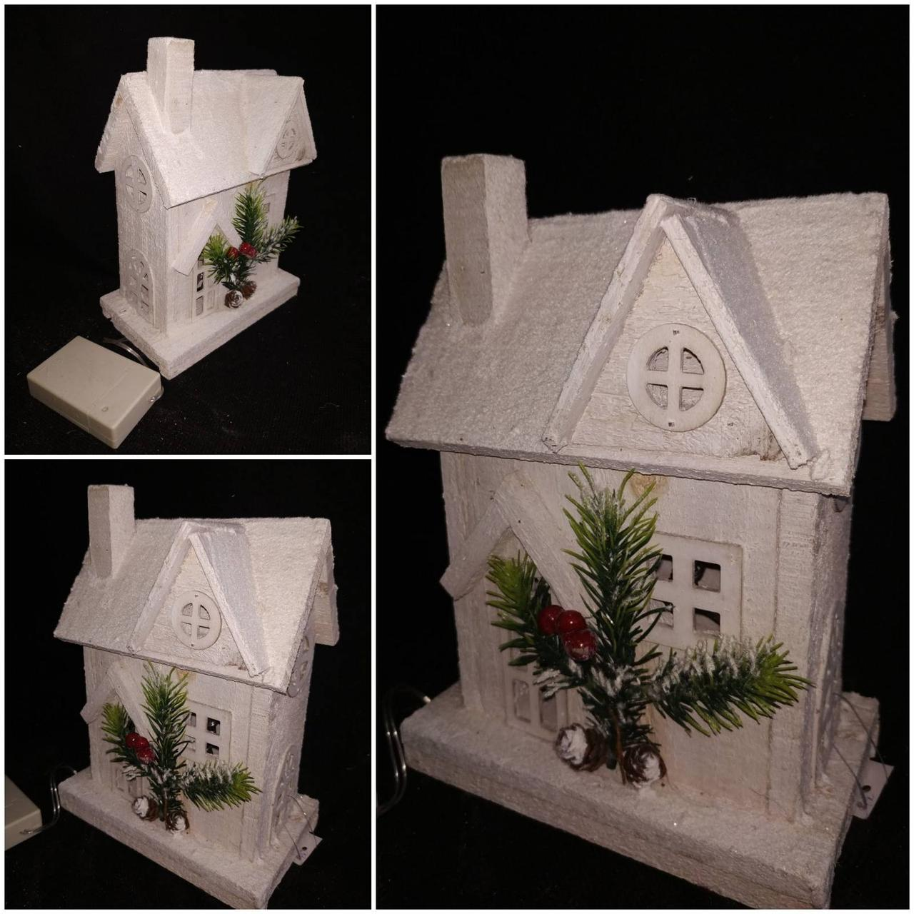 Декоративный домик из дерева, ЛЕД подсветка, выс. 22 см., 375 гр.