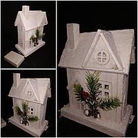 Декоративный домик из дерева, ЛЕД подсветка, выс. 22 см., 375 гр., фото 1