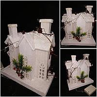 Новогодний декоративный домик, дерево, ЛЕД подсветка, выс. 26 см., 460 гр.