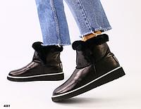 Ботинки УГГИ женские черные из глянцевой кожи, фото 1