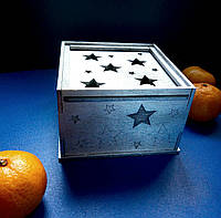 Подарочная коробка из дерева (серебро), коробка для подарков деревянная (серебряная)