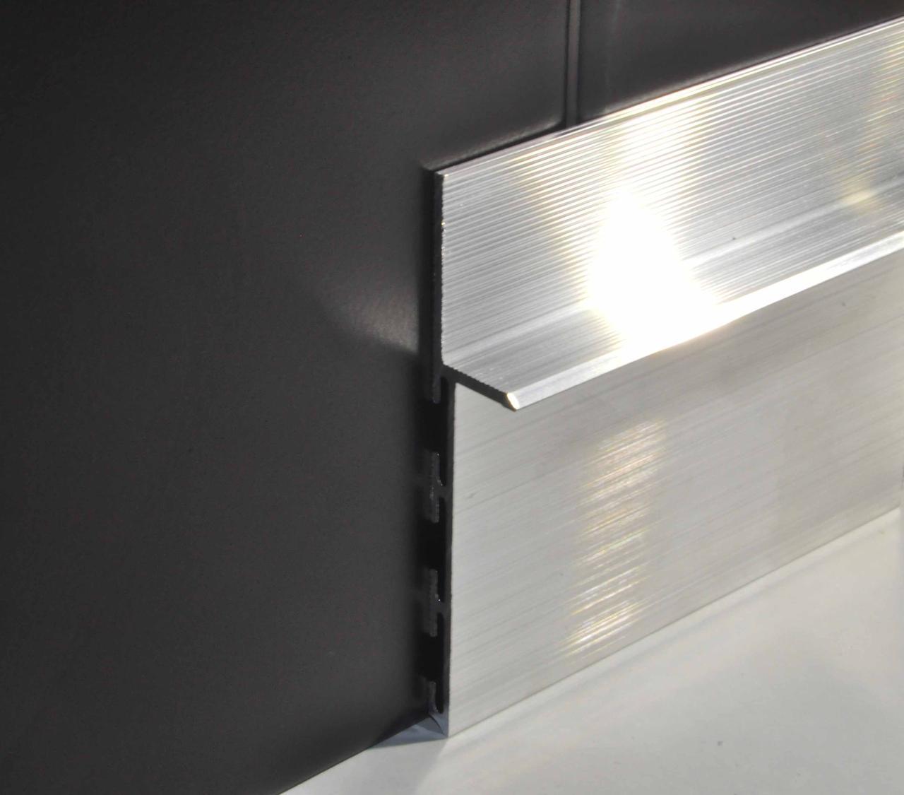 Плинтус алюминиевый скрытого монтажа под гипсокартон Braz Line 80х3000 мм без покрытия BL3104BP