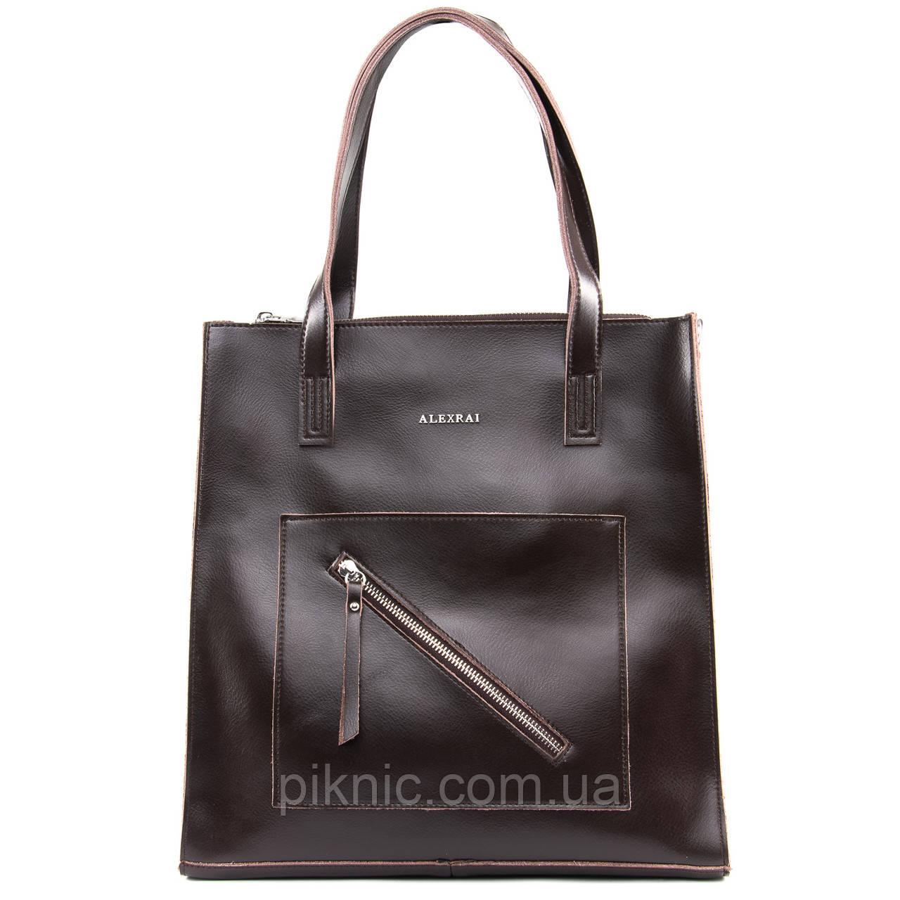 Стильная средняя женская сумка кожаная на плечо. Сумочка из натуральной кожи. 33*34*10 Коричневый