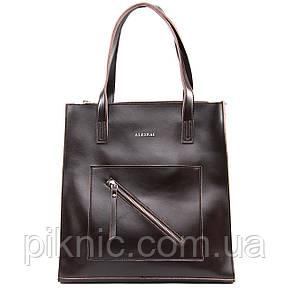 Стильная средняя женская сумка кожаная на плечо. Сумочка из натуральной кожи. 33*34*10 Коричневый, фото 2