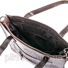 Стильная средняя женская сумка кожаная на плечо. Сумочка из натуральной кожи. 33*34*10 Коричневый, фото 3