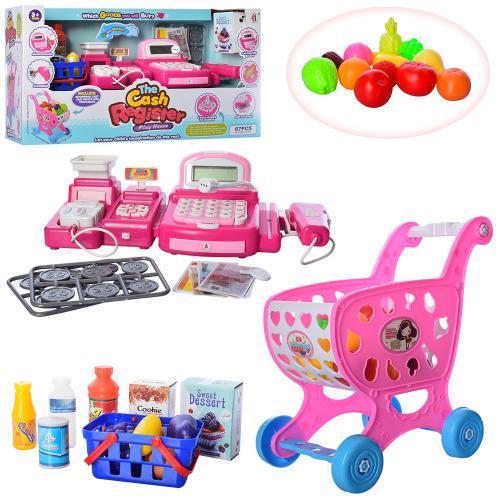 Кассовый аппарат для детей с тележкой 8088D-5 розовый