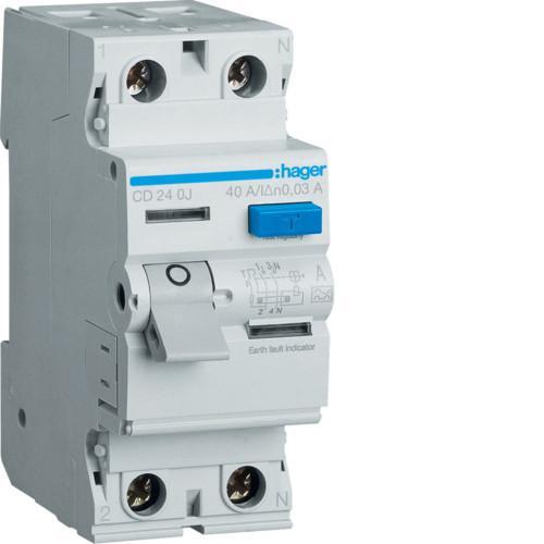 Устройство защитного отключения Hager (ПЗВ) 2P 40A 30mA A (CD240J)