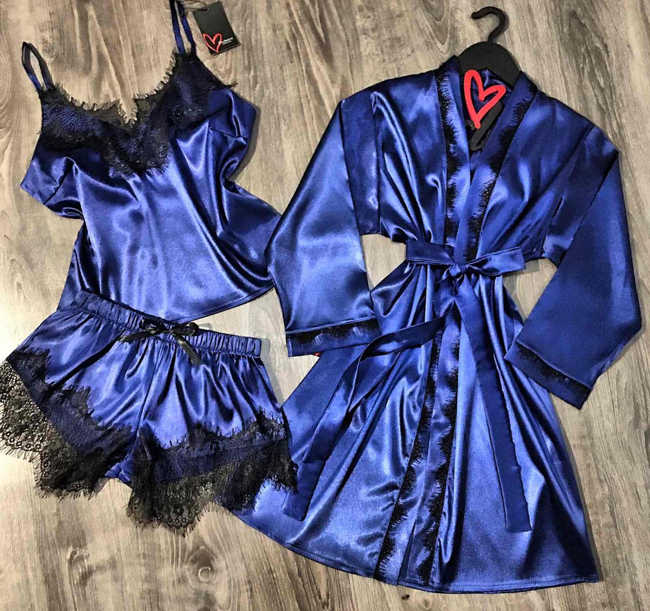 Синий шелковый комплект для дома-халат+пижама.