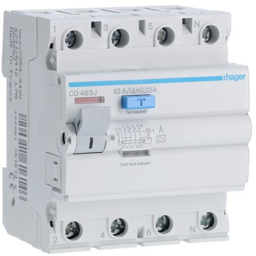 Устройство защитного отключения Hager (ПЗВ) 4P 63A 30mA A (CD463J)