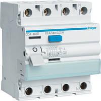 Устройство защитного отключения Hager (ПЗВ) 4P 80A 30mA A (CD480D)