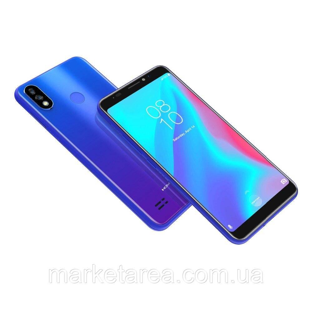 Смартфон синий с большим дисплеем с двойной камерой на 2 сим карты Homtom C8 blue 2/16 Гб NEW