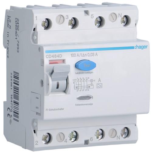 Устройство защитного отключения Hager (ПЗВ) 4P 84A 30mA A (CD484D)