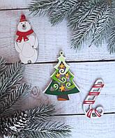 Набор новогодних игрушек на елку из дерева, ручная работа №9