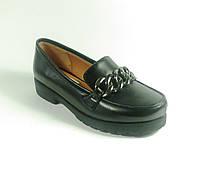 Женские стильные туфли с цепью черные, фото 1