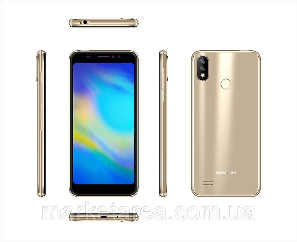 Смартфон тонкий с большим дисплеем и двойной камерой на 2 сим карты Homtom C8 gold 2/16 Гб