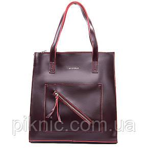 Стильная средняя женская сумка кожаная на плечо. Сумочка из натуральной кожи. 33*34*10 Бордо, фото 2