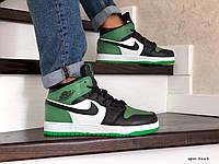 Зимние кроссовки Nike Air Jordan 1 Retro зеленые на меху