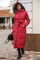 Теплое красное пальто из плащевки S M L XL