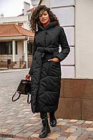 Теплое черное пальто из плащевки S M L XL