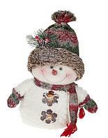 Мягкая новогодняя игрушка Снеговик, 32см, цвет - белый.(778-293)