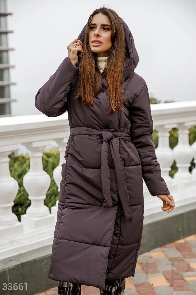Длинное стеганное пальто , зима,цвет смородина S M L XL