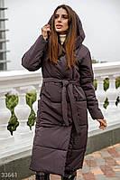 Длинное стеганное пальто , зима,цвет смородина S M L XL, фото 1