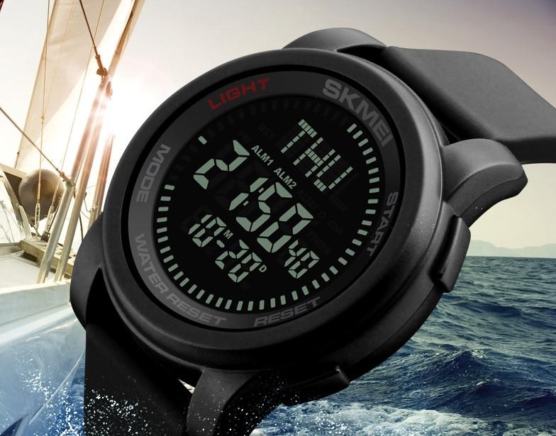 Часы Skmei 1289 Compas с компасом водонепроницаемые спортивные цифровые черные