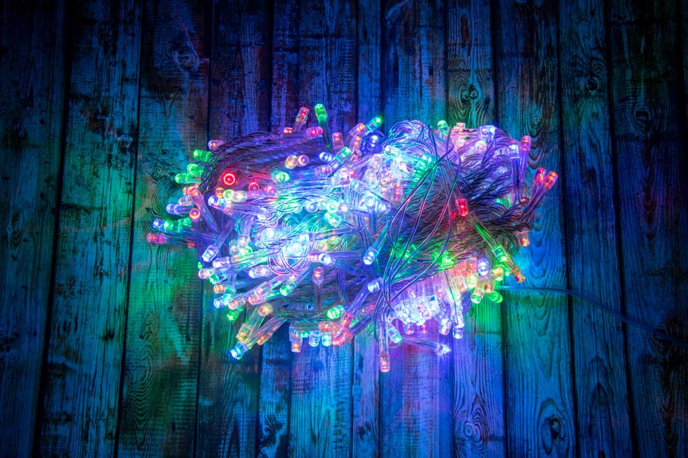 Новогодняя Led гирлянда Разноцветная 400 multi LED 15 метров (белый кабель) | новорічна гірлянда (NS)