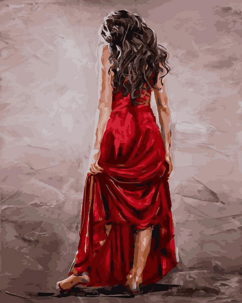 Картина по номерам Красное платье GX26962 Rainbow Art 40 х 50 см (без коробки)