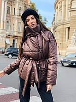 Женская зимняя куртка шоколадная, фото 1