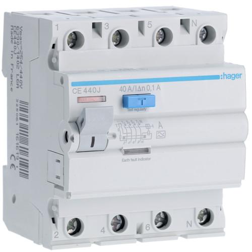 Устройство защитного отключения Hager (ПЗВ) 4P 40A 100mA A (CE440J)