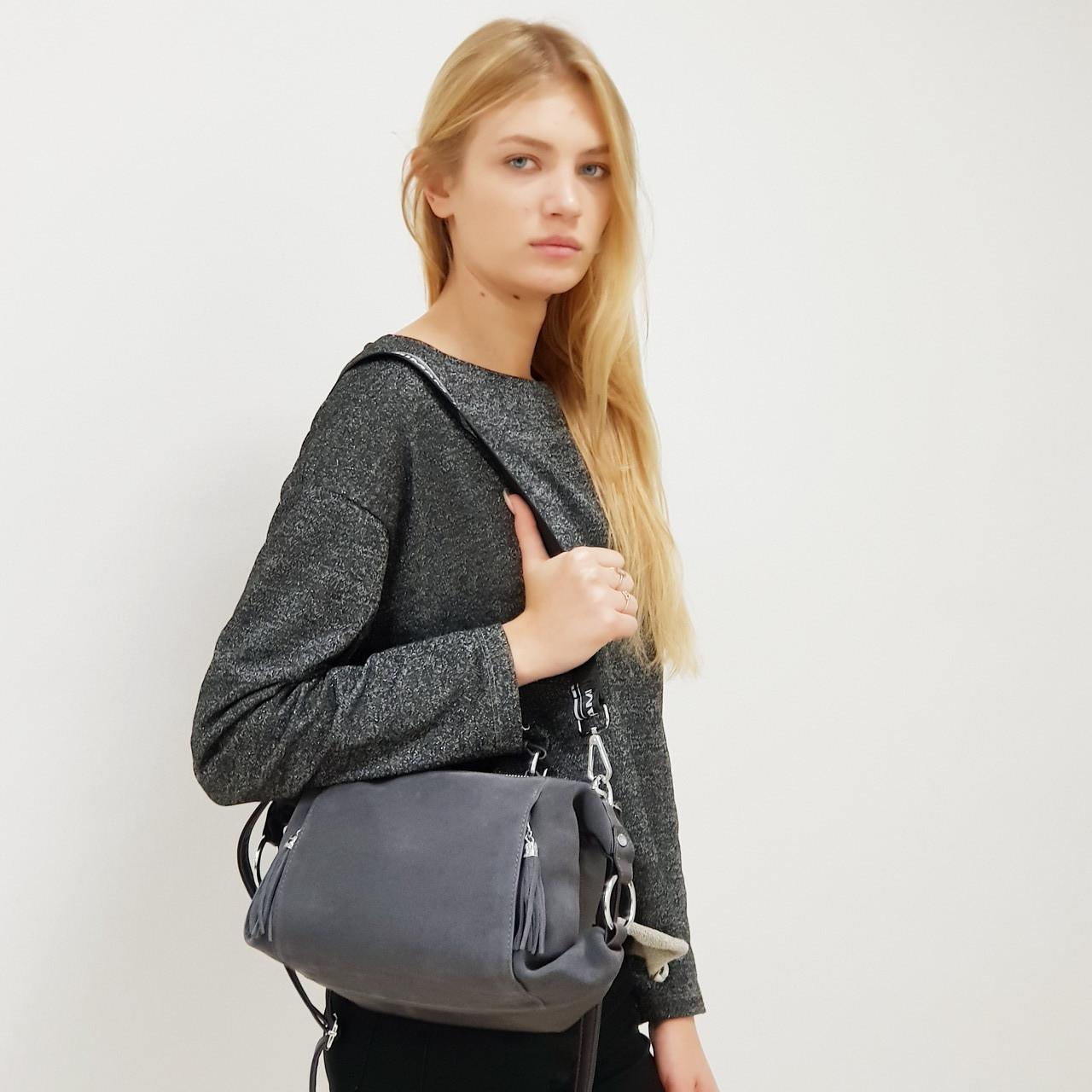 Женская сумка замшевая 0664 маленькая серая
