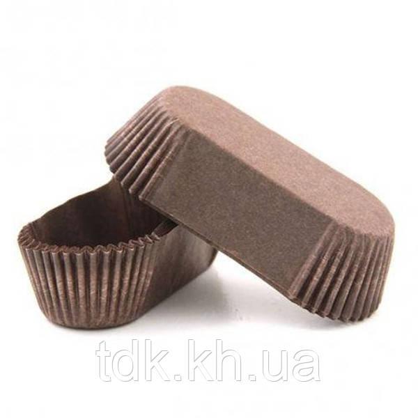 Тарталетка прямоугольная для эклеров, пирожных коричневая 100х35х30 Р10 50шт