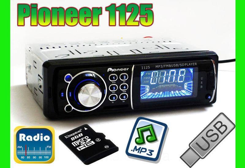 Магнитола Pioneer 1DIN USB\micro SD\AUX\FM\mp3
