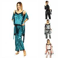 Р 42-48 Оксамитова піжама трійка: майка+штани+халат 20577, фото 1