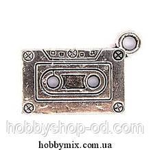 "Метал. подвеска ""касета"" серебро (2,4х1,3 см) 5 шт в уп."