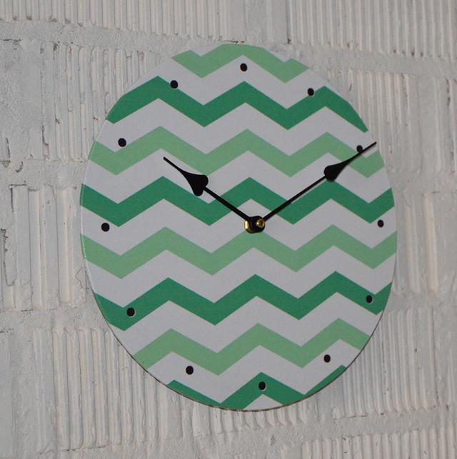 """Часы настенные """"Зеленый Зигзаг"""" (29 см. МДФ, холст)"""