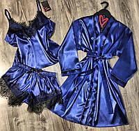 Шелковый комплект для дома с кружевом халат и пижама 090-056-синий.